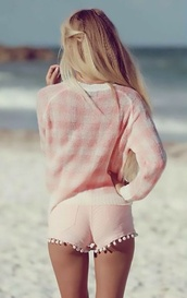 shorts,pink,pastel pink,pink shorts,High waisted shorts,sweater,cardigan,light pink,fringe tassle,short shorts