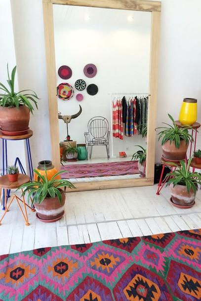 Home Accessory Plants Vases Tribal Pattern Rug Boho Decor Mirror Furniture