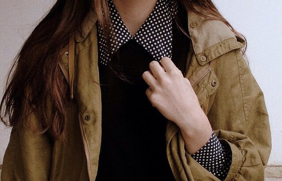 blouse polka dots collared shirts army green jacket parka fall outfits winter outfits collar back to school jacket