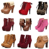 shoes,high heels,boots,red,leopard print,brown leather boots,tan boots,pink,pink boots,furry boots,Boots with Heels