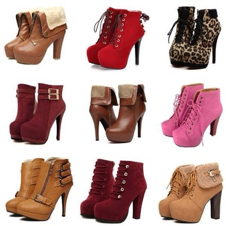 shoes high heels boots red cheetah print brown leather boots tan boots pink pink boots furry boots boots with heels