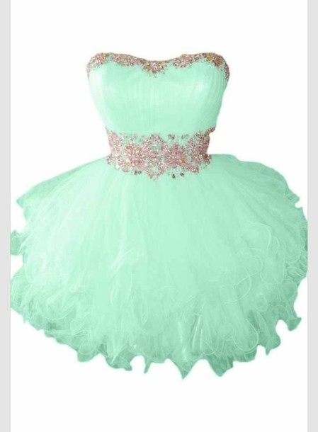 Dress: mint, homecoming, poofy, crystal, tulle skirt, short, mint ...