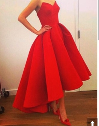 dress red dress strapless high-low dresses classy gown
