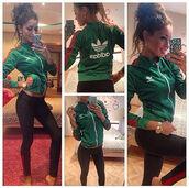 leggings,girl,hot,beautiful,green,adidas,watch,black,jacket