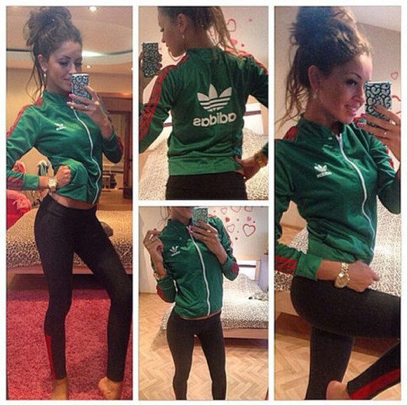 girl beauty hot black leggings green adidas watch
