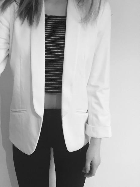 Jacket Jeans Black White Blazer Crop Tops Stripes Minimalist