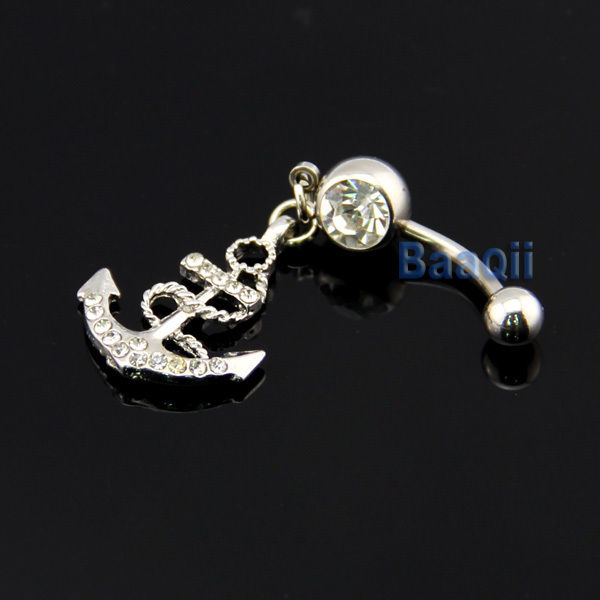 Clear rhinestone button barbell bar belly navel ring body piercing anchor dangle