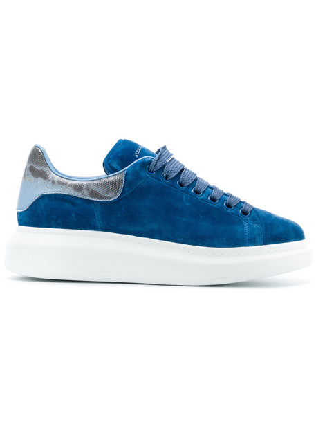 Alexander Mcqueen women sneakers leather blue velvet shoes