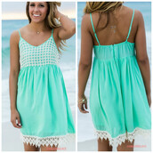 dress,mint,amazinglace,crochet,sundress,summer,beach,spaghetti strap