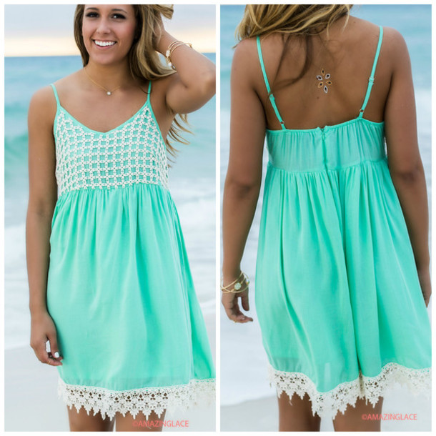Dress: mint, amazinglace, crochet, sundress, summer, beach ...