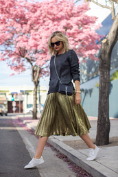 late afternoon,blogger,sunglasses,jewels,grey sweater,metallic,gold skirt,yves saint laurent,white sneakers