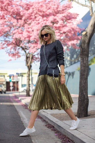 late afternoon blogger sunglasses jewels grey sweater metallic gold skirt yves saint laurent white sneakers