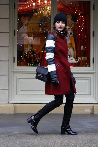 lovely pepa blogger winter coat black boots beanie