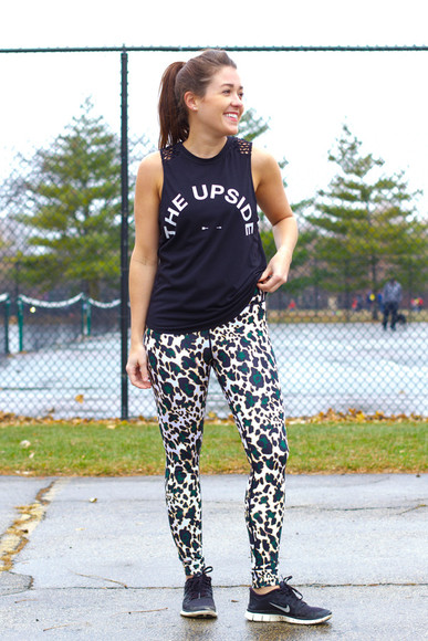 blogger nike shoes sequins and stripes jacket animal print leggings