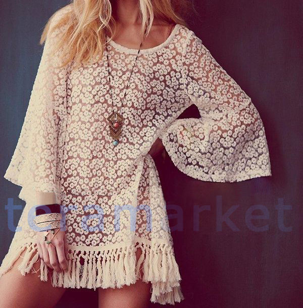 Vintage Hippie Boho Bell Sleeves Gypsy Festival Fringe Lace Mini Dress Tops V07 | eBay