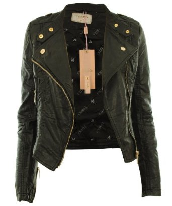 Diana new womens faux leather biker gold button zip crop ladies jacket coat: amazon.co.uk: clothing