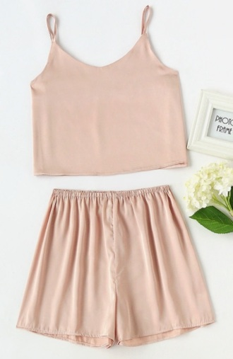 shorts girly two-piece crop tops crop cropped silk satin pink