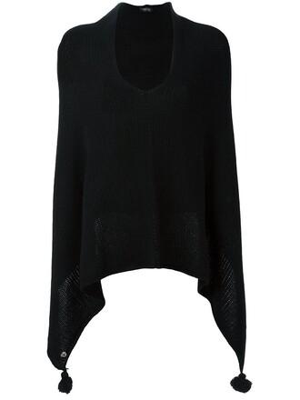 poncho tassel women black wool top