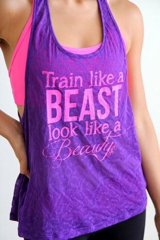tank top fashion top shirt sportswear purple beautiful running sports bra train workout bright colorful pink t-shirt beast shirt