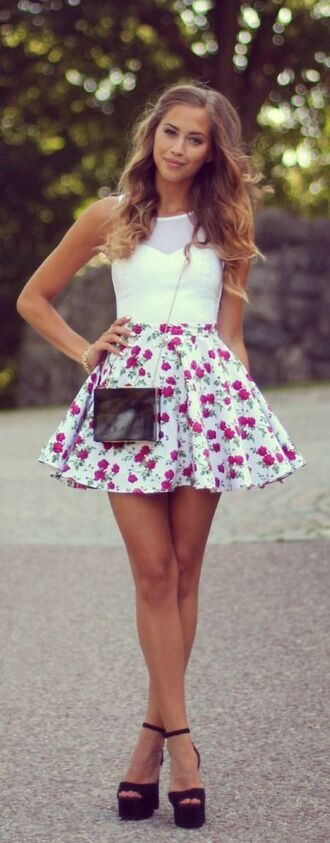 skirt floral skirt white top platform shoes summer outfits spring outfits