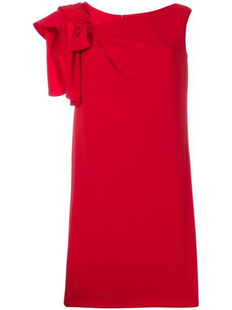 Max Mara dress shift dress bow women silk red