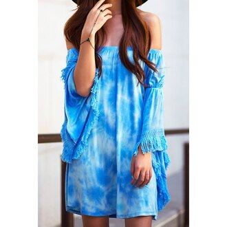 dress blue cool trendy stylish style water blue dress sky blue summer dress summer outfits fringed dress fringes beautiful cute dress sea