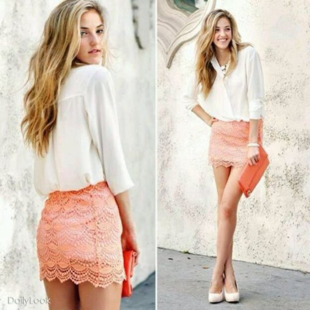 Skirt: peach skirt, peach, coral, pencil skirt, short skirt, coral ...