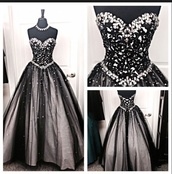 prom dress,dress,black tulle prom dress,lace appliques prom dresses,sweet 16 dresses,black and white,ballroom,prom,black,white,silver