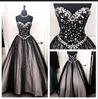 prom dress dress black tulle prom dress lace appliques prom dresses sweet 16 dresses black and white ballroom prom black white silver