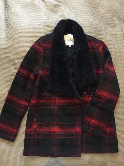 jacket wool flannel fur black red