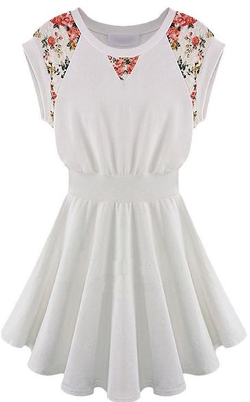White Sleeveless Skater Dress with Floral Lace