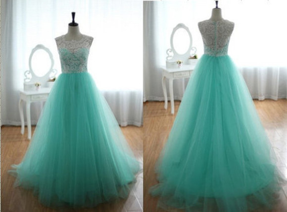 tulle dress weheartit long prom dresses lace formal dress aqua green chiffon turqoise