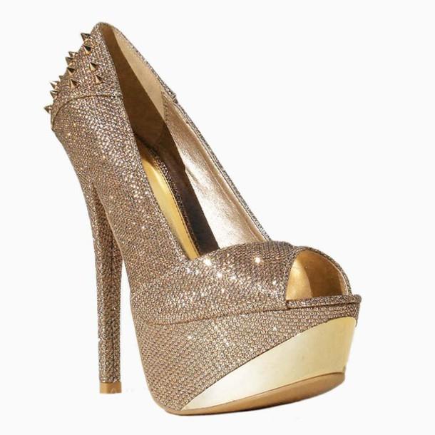 shoes o'shoes agaci champagne heels spike heels platform heels gold plated heels peep toe heels