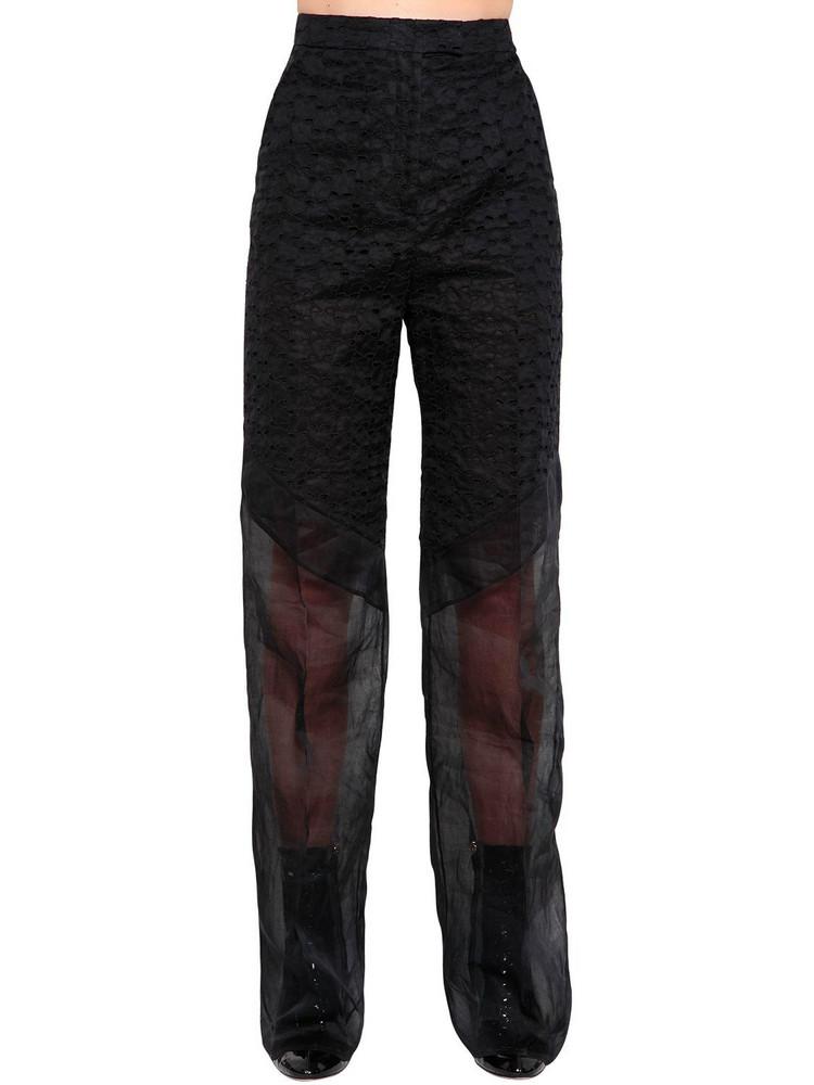 ANTONIO BERARDI Patchwork Eyelet Lace & Organza Pants in black