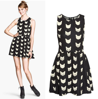dress cute cats black dress cat dress halloween sleeveless itgirl clothing cute dress sleeveless dress pastel goth zip kawaii kawaii dress h&m trendy style it girl shop girly