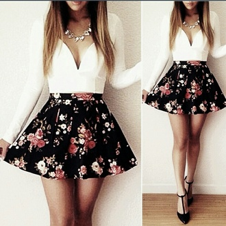 top white tops necklace mini skirt floral