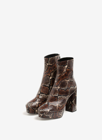shoes booties boots uterque platform boots snake print brown