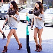 sweater,selena gomez,selena,beige,scarf,summer,outfit,fashion,shorts,denim,jeans,brown,brunette,boots,shoes