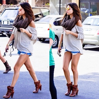 sweater selena gomez selena beige scarf summer outfit fashion shorts denim jeans brown brunette boots shoes