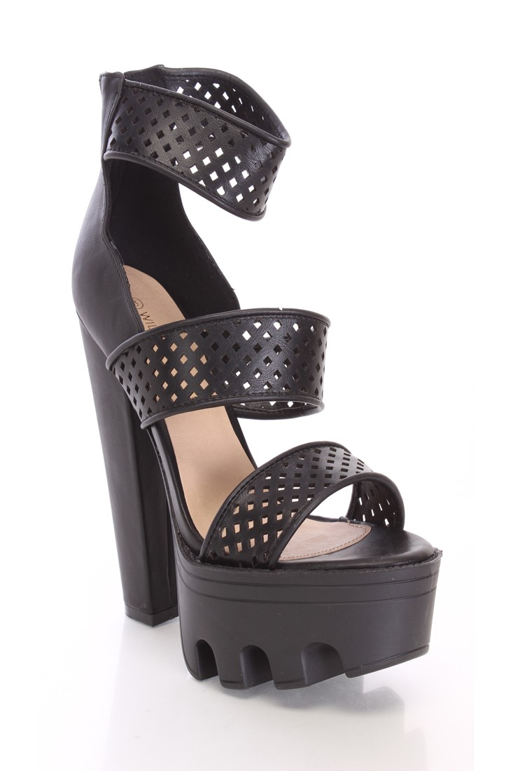 Black Perforated Chunky High Heels Faux Leather