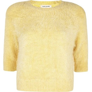 Light yellow fluffy cropped jumper - Polyvore