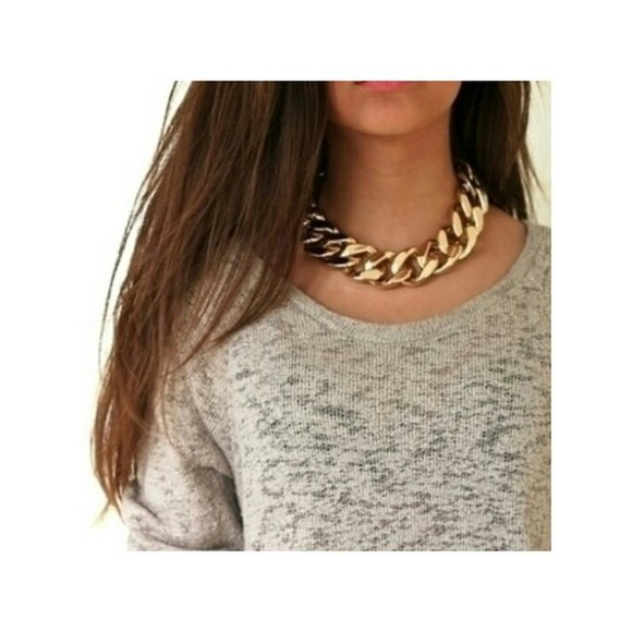 sweater necklace gold grey sweater jewels