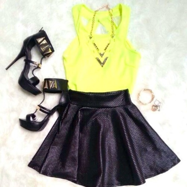 shoes skirt jewels shirt
