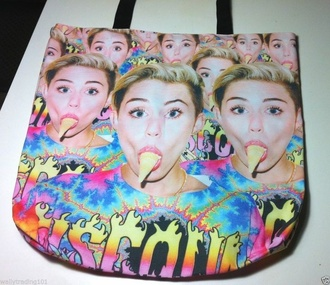 bag miley cyrus bangerz tour merchandise girl guys ice cream tote bag