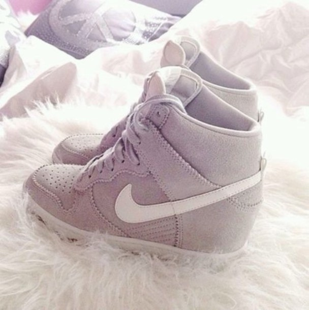 548d7b4fa9d shoes nike high heels pretty want them wedge sneakers fluff grey white heels  pumps lace-