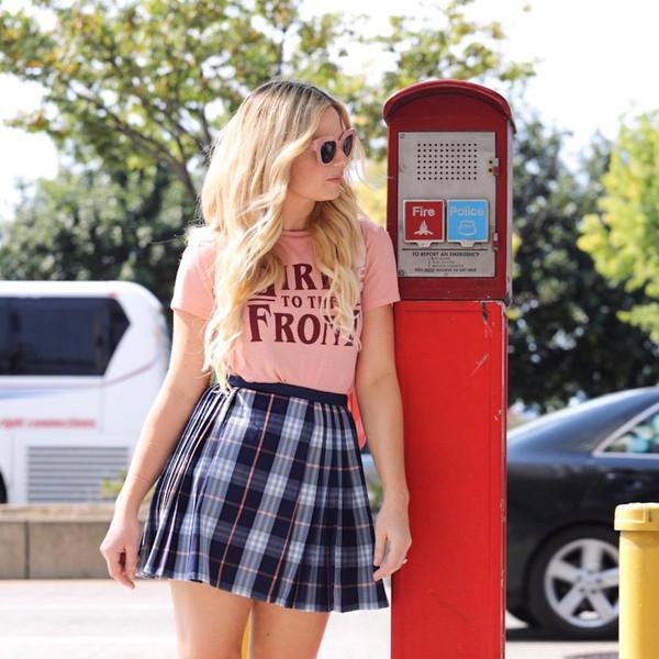 skirt plaid plaid mini skirt mini mini skirt t-shirt pink t-shirt sunglasses