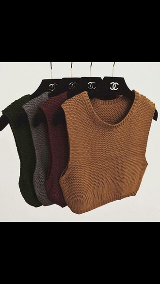 sweater knitwear knitted crop top fall colors fall sweater knitted sweater sleeveless chanel