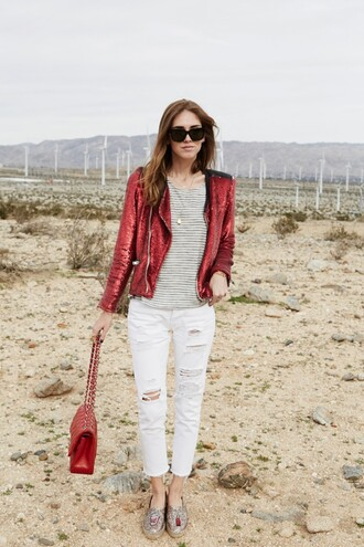 the blonde salad blogger sunglasses red bag sequins white jeans ripped jeans stripes sparkle jacket sequin jacket spring jacket