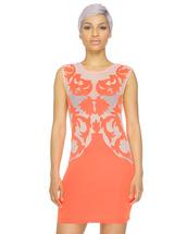 coral,nude,sheer,see through,baroque,baroque dress,bodycon,bodycon dress,dress