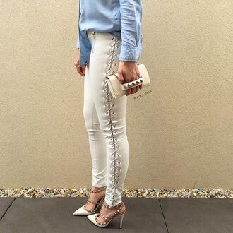 leggings maniere de voir leather pants tie up tie side lace gvp valentino